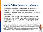 health policy recommendations