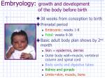 embryology growth and development of the body before birth