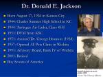 dr donald e jackson