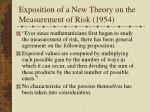 exposition of a new theory on the measurement of risk 1954