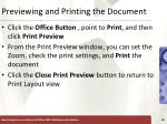 previewing and printing the document