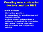 creating new contracts doctors and the nhs