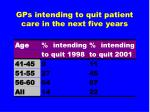 gps intending to quit patient care in the next five years