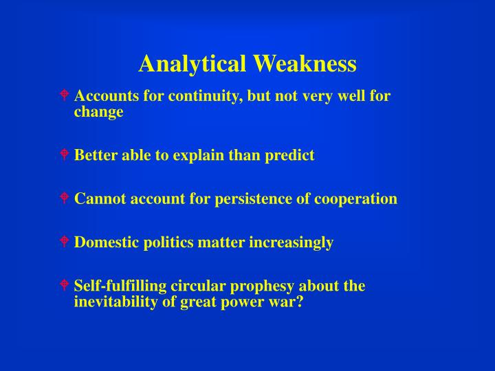 Analytical Weakness