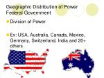 geographic distribution of power federal government