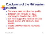 conclusions of the mw session at index