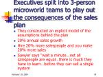 executives split into 3 person microworld teams to play out the consequences of the sales plan