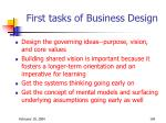 first tasks of business design