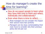 how do manager s create the time for learning