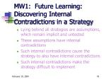 mw1 future learning discovering internal contradictions in a strategy