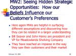 mw2 seeing hidden strategic opportunities how our beliefs influence our customer s preferences