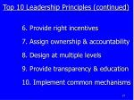 top 10 leadership principles continued
