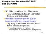 comparison between iso 9001 and sei cmm105