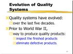 evolution of quality systems