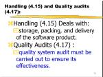 handling 4 15 and quality audits 4 17