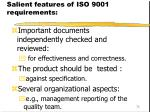 salient features of iso 9001 requirements73