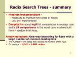 radix search trees summary