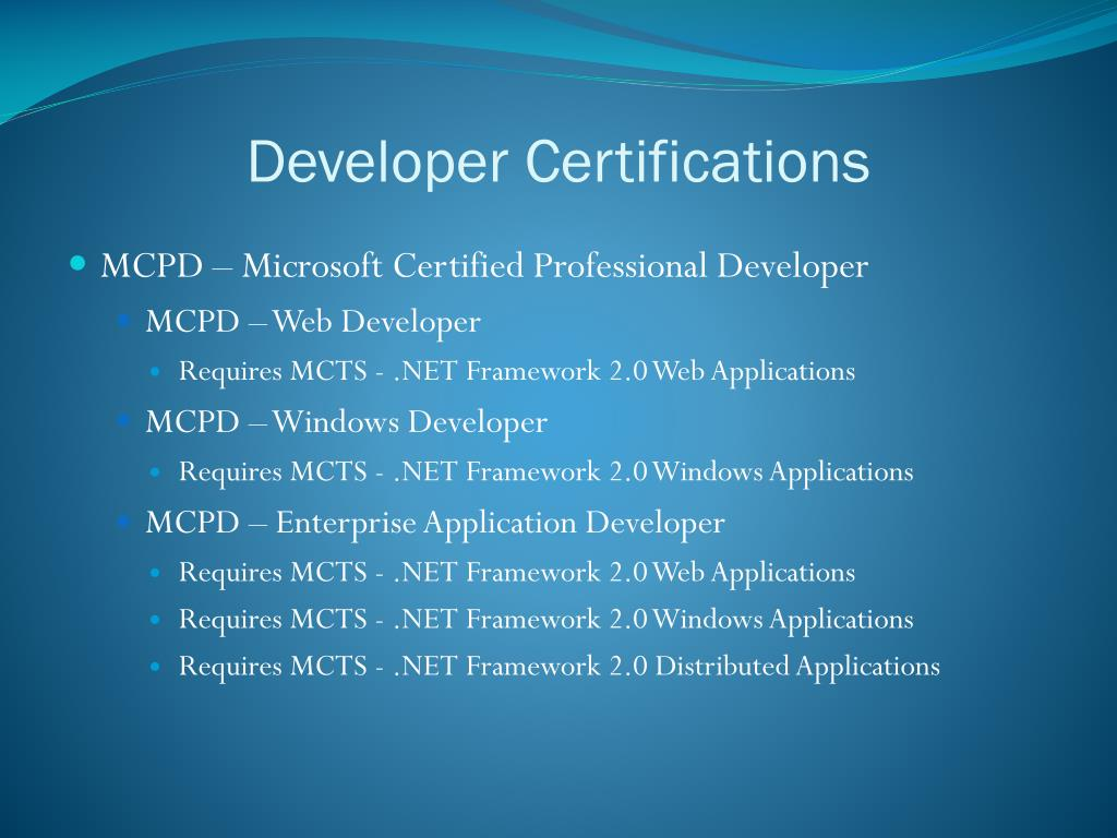 Developer Certifications