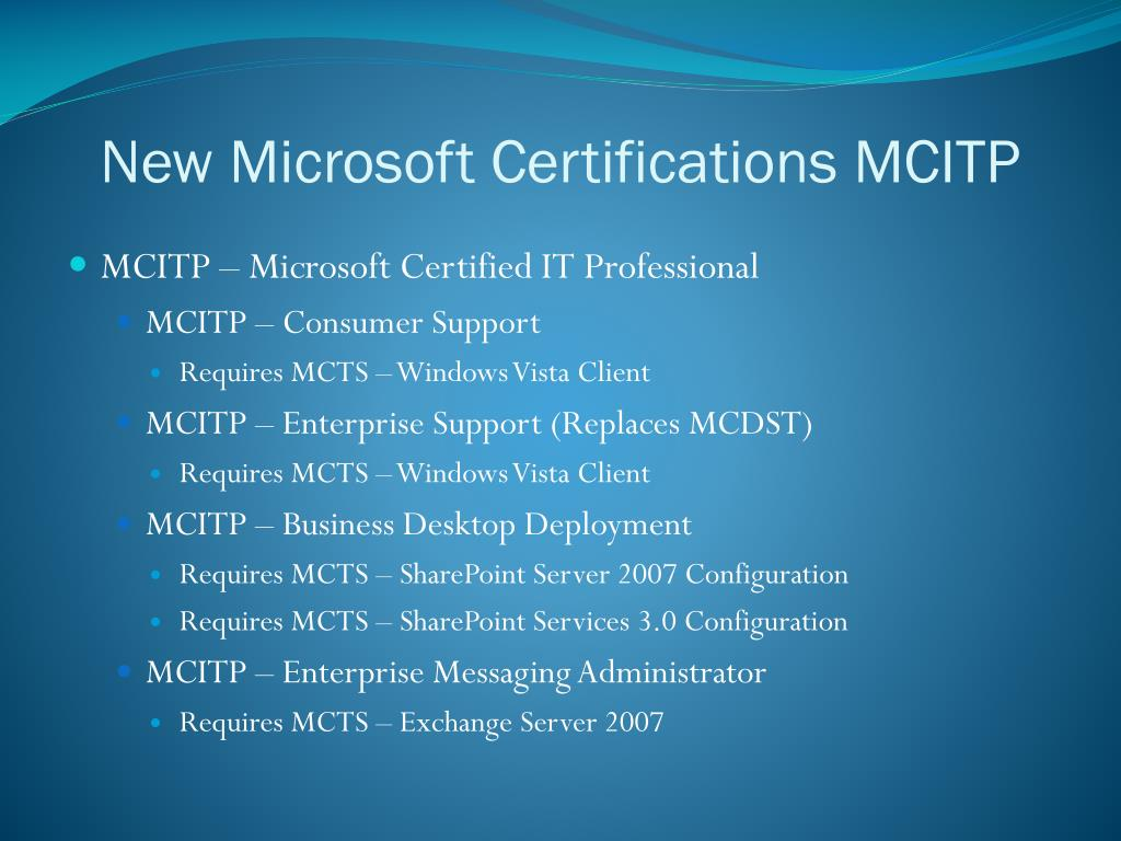 New Microsoft Certifications MCITP