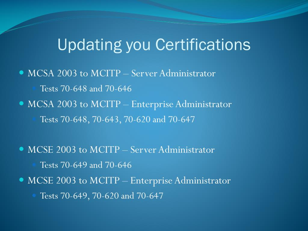 Updating you Certifications