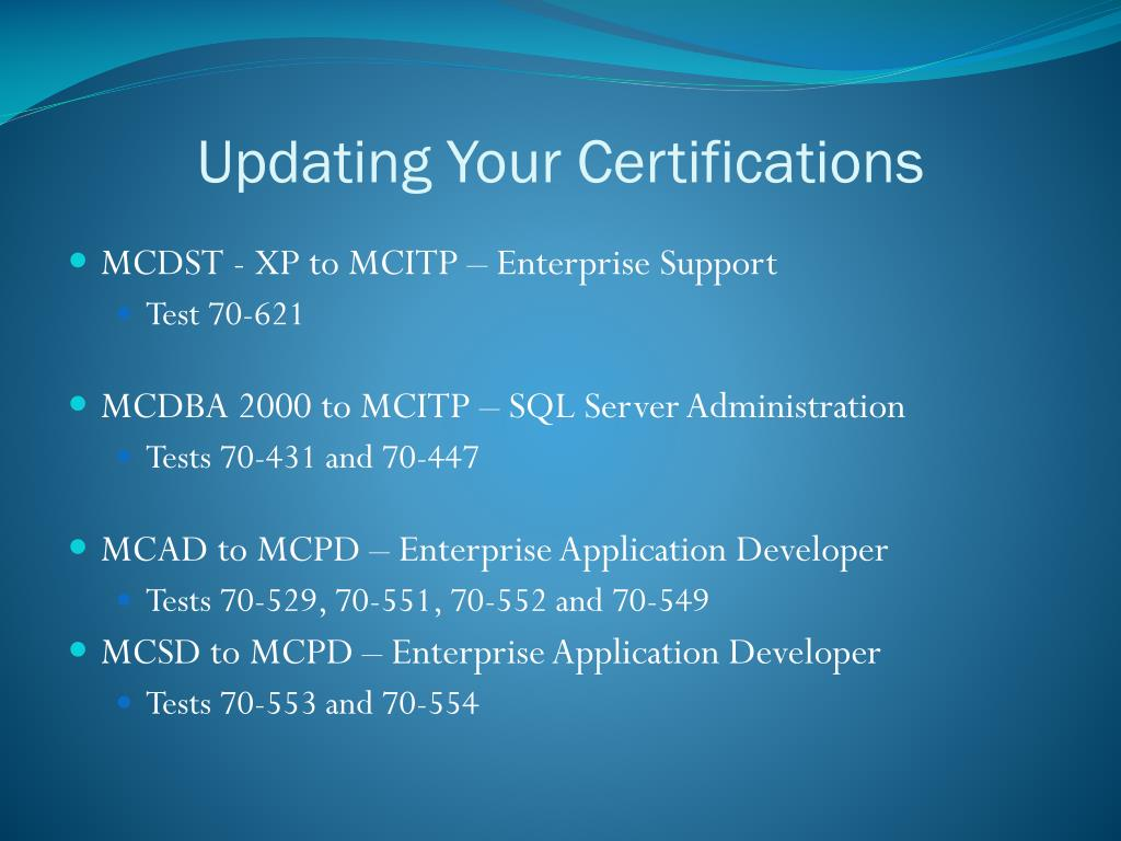 Updating Your Certifications