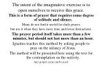the intent of the imaginative exercise is to open ourselves to receive this grace
