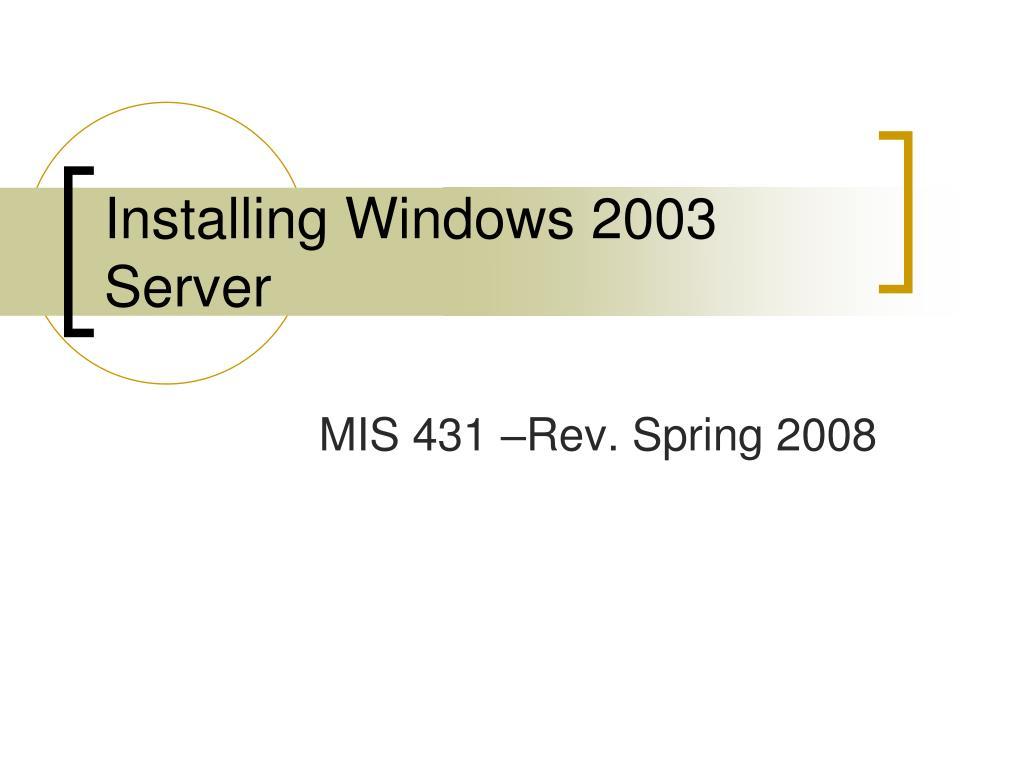 installing windows 2003 server l.