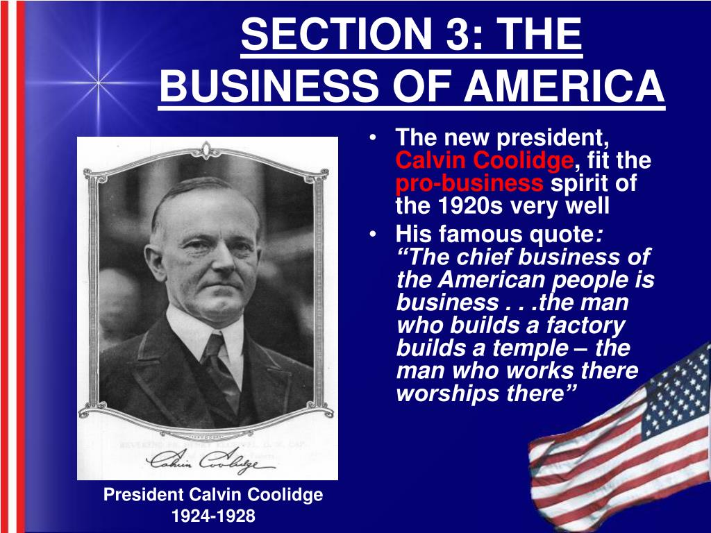 SECTION 3: THE BUSINESS OF AMERICA
