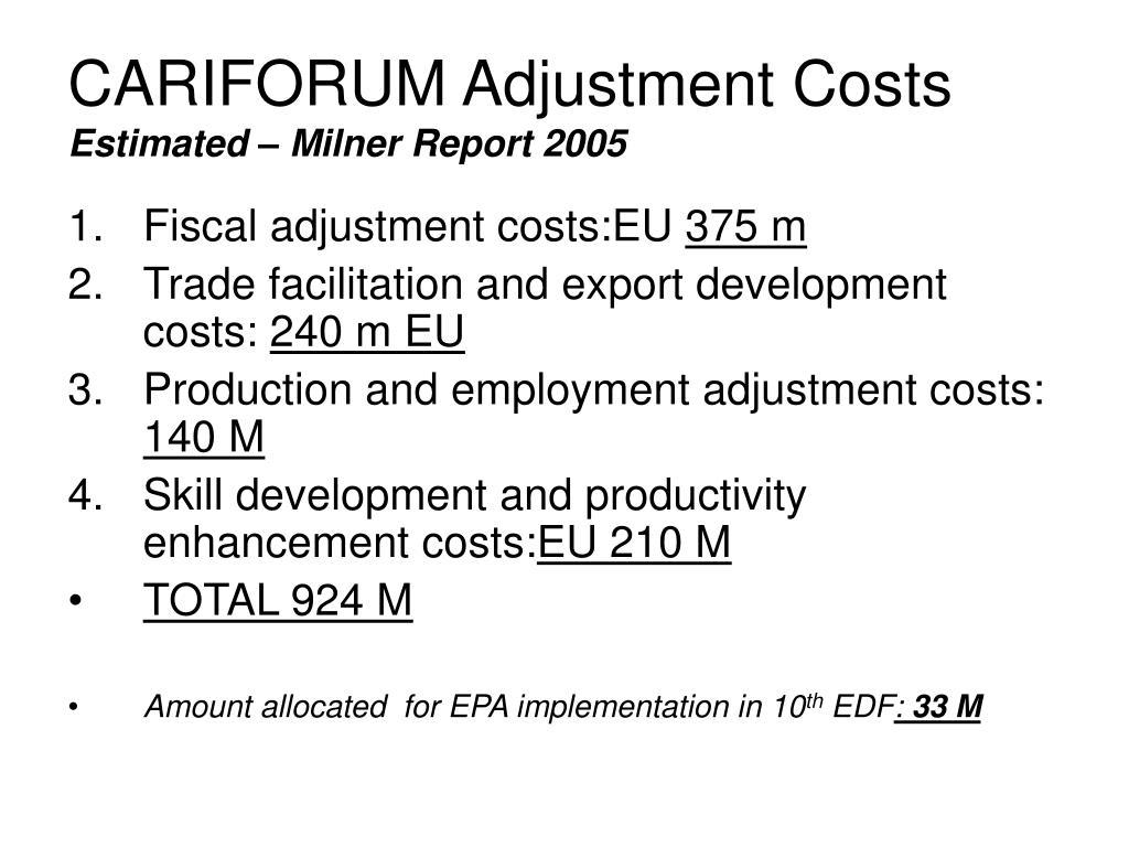CARIFORUM Adjustment Costs