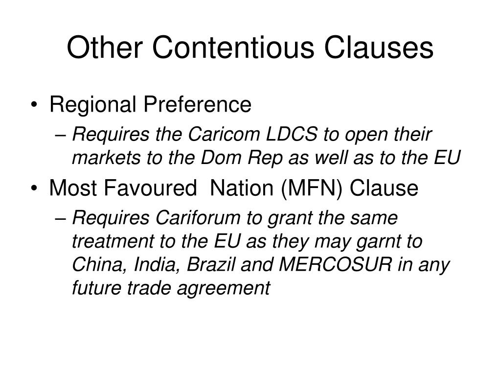 Other Contentious Clauses