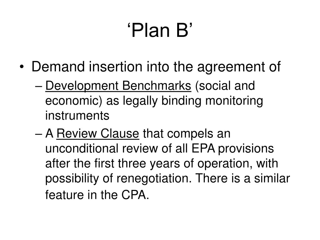 'Plan B'