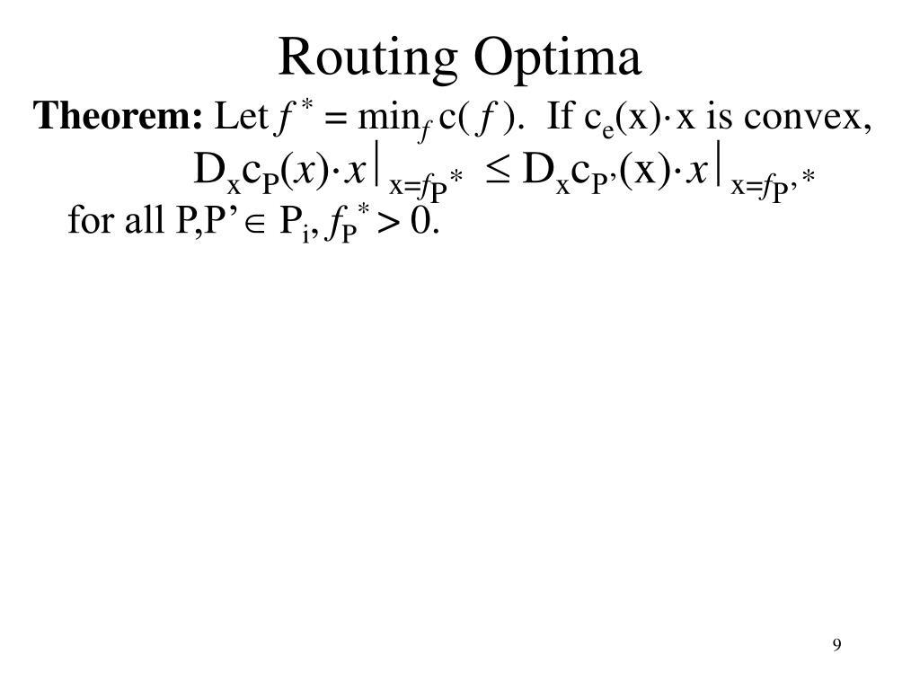 Routing Optima