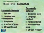 phases of escalating behavior phase three agitation