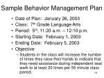 sample behavior management plan