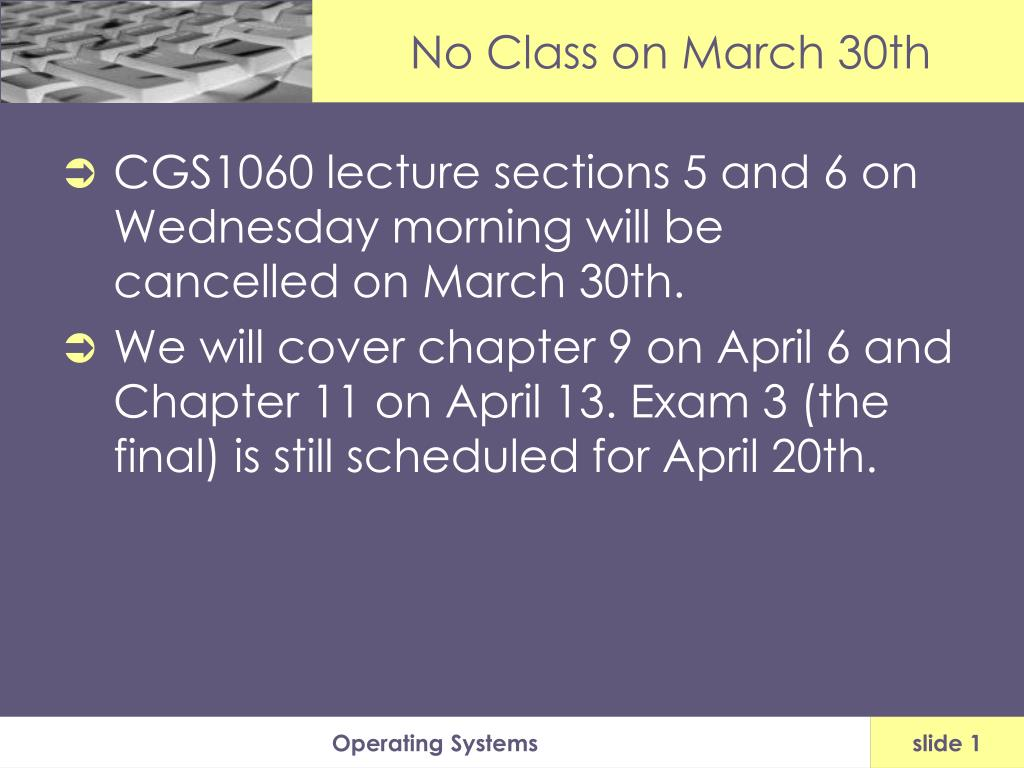 no class on march 30th l.