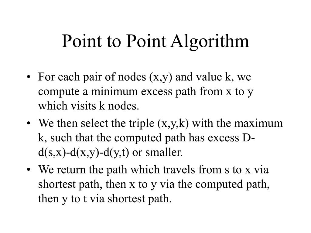 Point to Point Algorithm