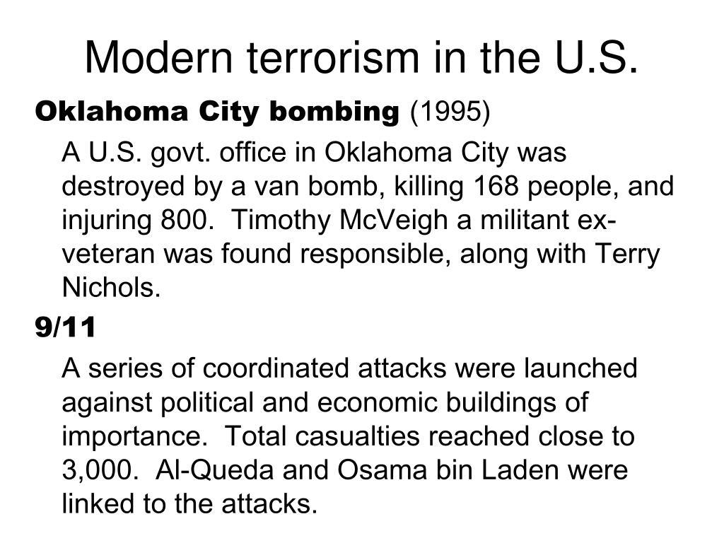 Modern terrorism in the U.S.