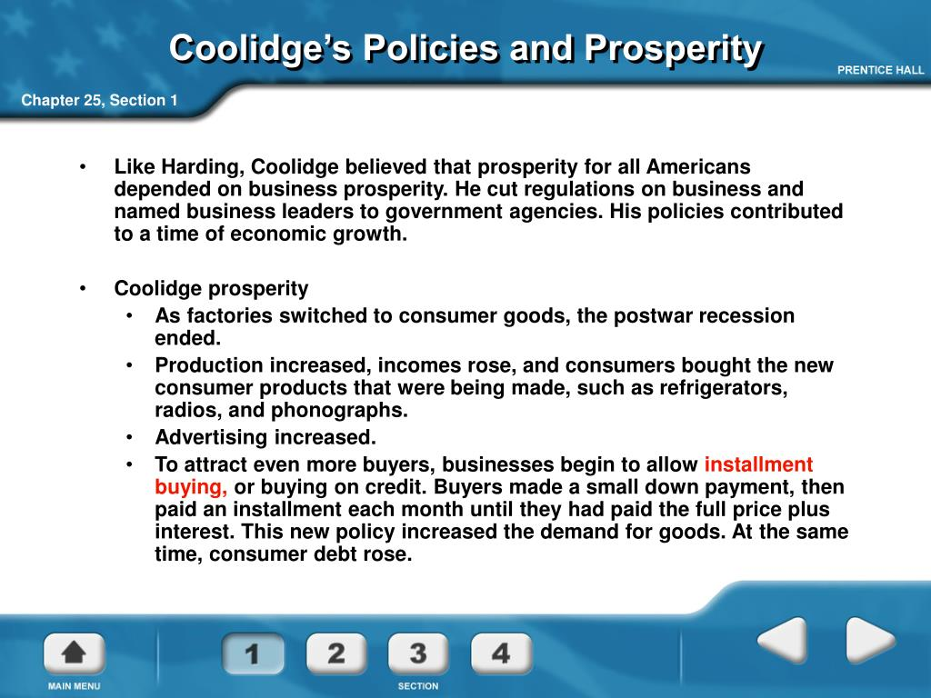 Coolidge's Policies and Prosperity