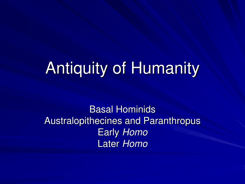 antiquity of humanity l.