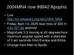2004mn4 now 99942 apophis