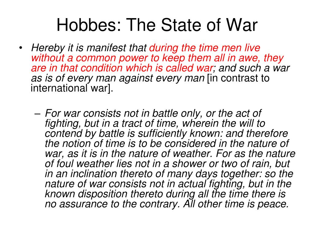 Hobbes: The State of War