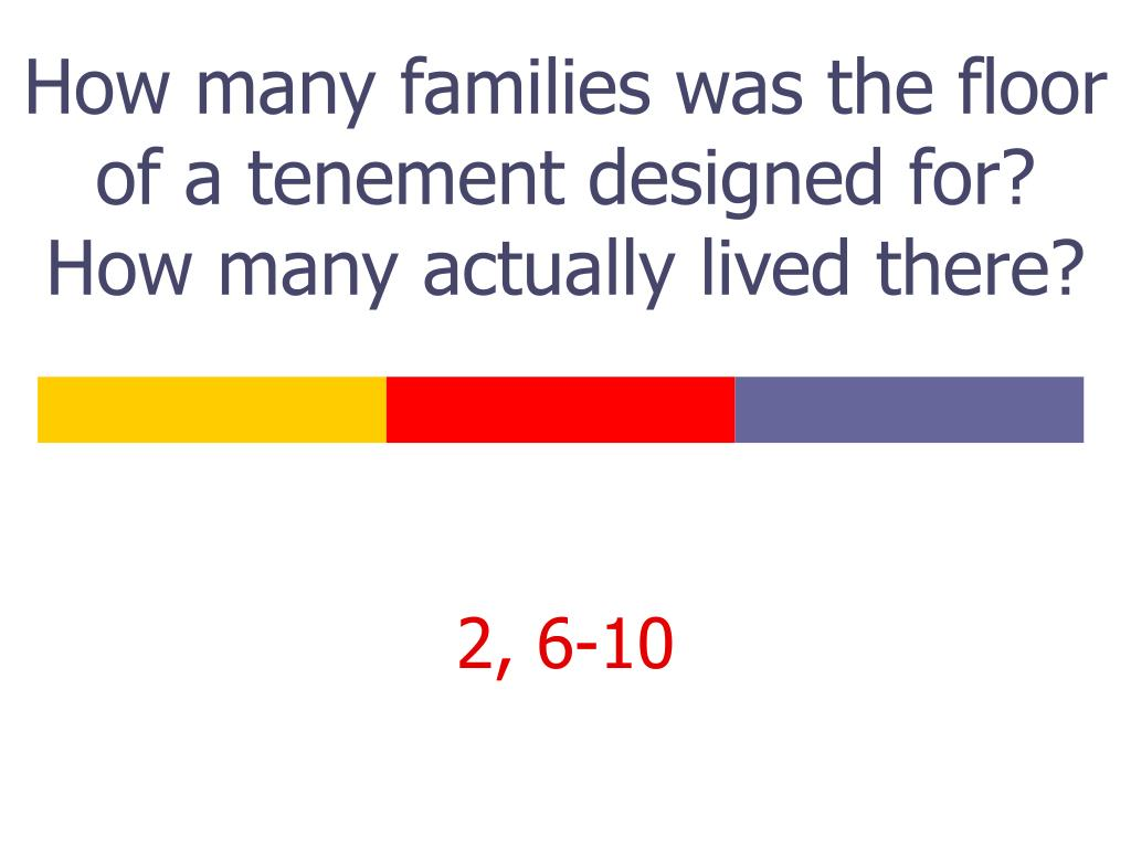 How many families was the floor of a tenement designed for? How many actually lived there?