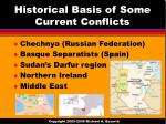 historical basis of some current conflicts