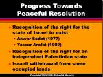 progress towards peaceful resolution