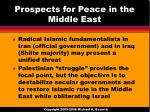 prospects for peace in the middle east