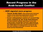 recent progress in the arab israeli conflict