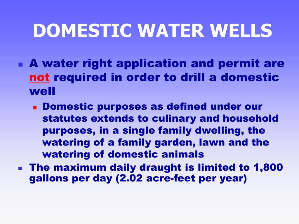 DOMESTIC WATER WELLS