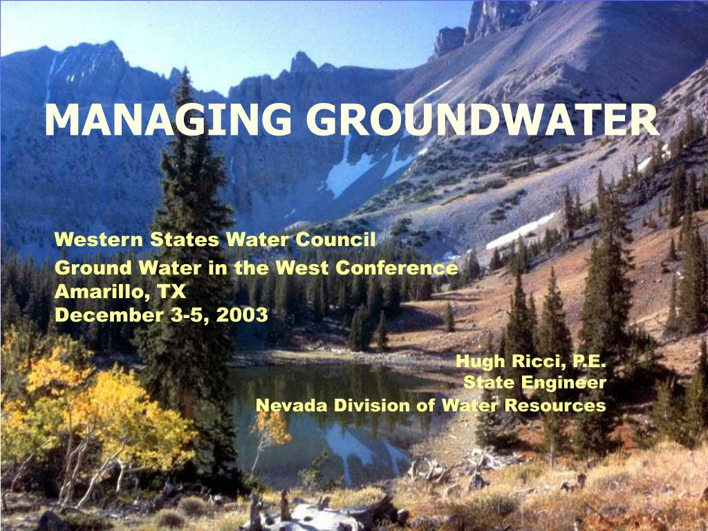 MANAGING GROUNDWATER