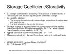 storage coefficient storativity
