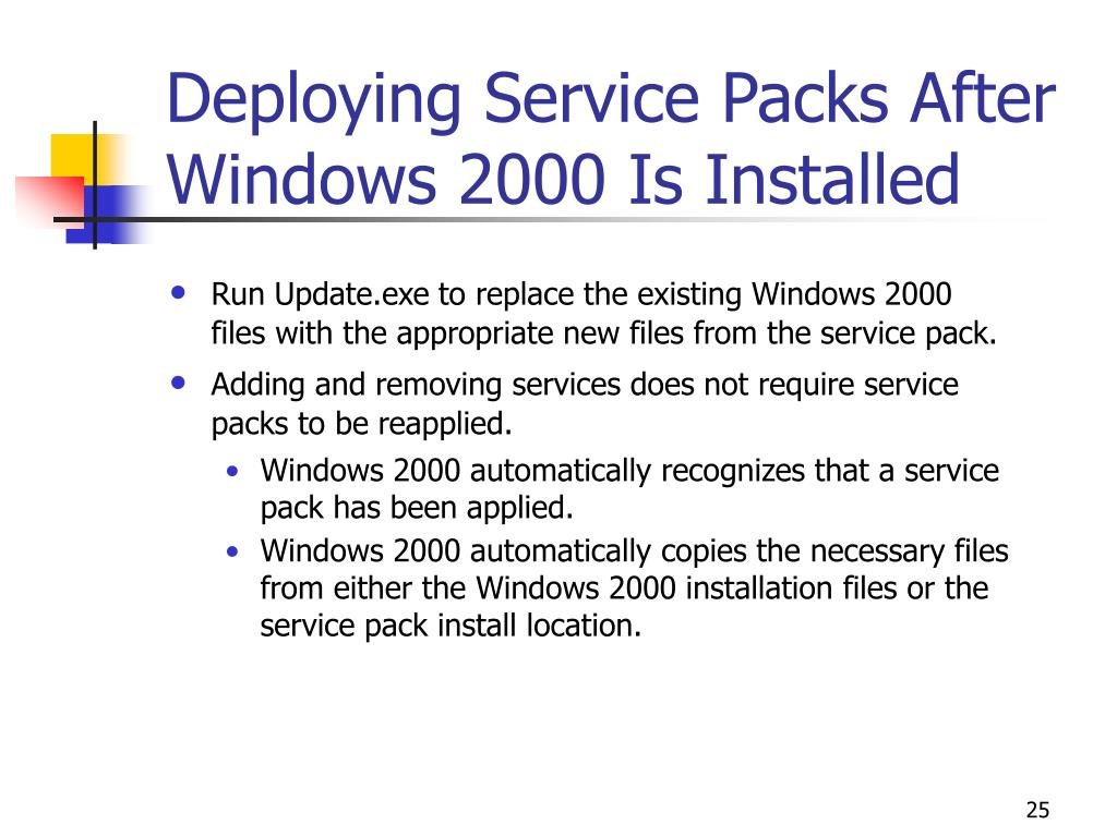 Deploying Service Packs After Windows 2000 Is Installed